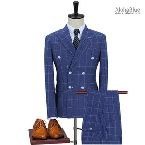 スーツ メンズ ダブルスーツ 3ピーススーツ スリーピース スリーピー ビジネススーツ チェック柄 6つボタン セットアップ 春夏 結婚式 紳士|aloha0118