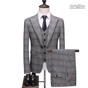 3ピーススーツ メンズ 結婚式 スリーピース スリーピー 1つボタン チェック柄 細身 スーツ セットアップ ビジネススーツ 紳士 春夏|aloha0118