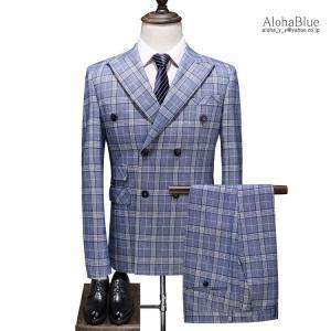 メンズ ダブルスーツ チェック柄 3ピーススーツ スリーピース スリーピー スーツ ビジネススーツ セットアップ 6つボタン 結婚式 紳士 春夏|aloha0118