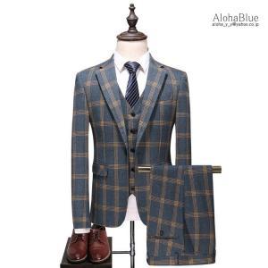 メンズ 3ピーススーツ 結婚式 ビジネススーツ 紳士 スリーピース スリーピー 細身 1つボタン チェック柄 スーツ セットアップ 春秋|aloha0118
