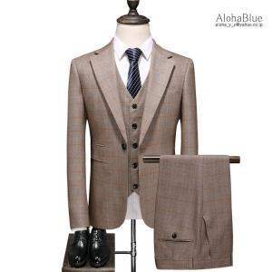 メンズ スーツ 3ピーススーツ 結婚式 スリーピース スリーピー 細身 1つボタン チェック柄 セットアップ おしゃれ 春 秋|aloha0118