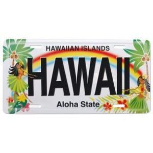 ハワイ ナンバープレート ライセンスプレート ハワイアン 雑貨 壁掛け Hawaii Aloha State Hula フラガール|alohahiyori