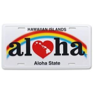ハワイ ナンバープレート ライセンスプレート ハワイアン 雑貨 壁掛け Hawaii Aloha State Heart ハート|alohahiyori