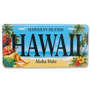 ハワイ ナンバープレート ライセンスプレート ハワイアン 雑貨 壁掛け Hawaii Aloha State Hula フラガール  ブルー|alohahiyori