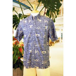 アロハシャツ 半袖 レインスプーナー Reyn's Golden State レインズ ゴールデン ステイツ Blue ブルー alohahiyori