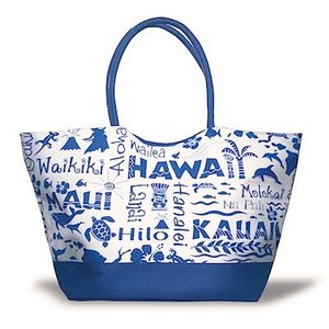 ハワイ トートバッグ マザーズバッグ 軽量 ママバッグ レディース ハワイアン 輸入 アイランドヘリテージ Beach Tote Bag ブルー Blue alohahiyori
