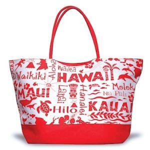 ハワイ トートバッグ マザーズバッグ 軽量 ママバッグ レディース ハワイアン 輸入 アイランドヘリテージ Beach Tote Bag レッド Red alohahiyori