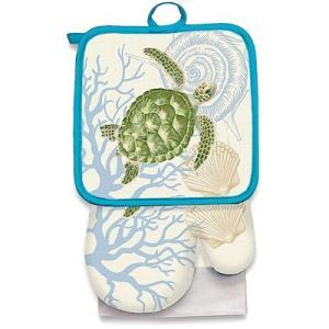 キッチンセット キッチンタオル 鍋つかみ 鍋敷 kitchen towel pot holder oven milt honuvoyage ホヌ ウミガメ alohahiyori