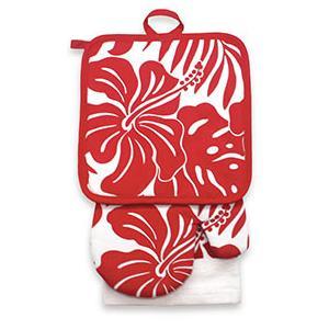 キッチンセット キッチンタオル 鍋つかみ 鍋敷 kitchen towel pot holder oven milt hidiscusfloralred ハイビスカス レッド alohahiyori