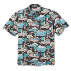 アロハシャツ 半袖 レインスプーナー Surfin Snoopy サーフィン スヌーピー BLACK ブラック alohahiyori