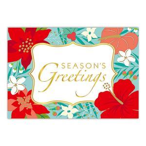 ハワイ クリスマスカード グリーティングカード メッセージカード ハワイアンカード Floral Holiday alohahiyori