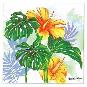 """ローレンロス キャンバス アート """"MONSTERA HIBISCUS"""" Lauren Roth Design in Hawaii 25x25cm alohahiyori"""
