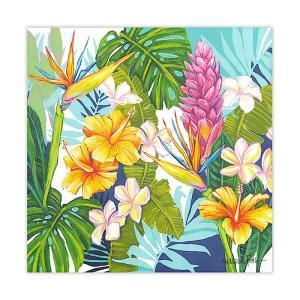 """ローレンロス キャンバス アート """"ISLAND BLOSSOMS"""" Lauren Roth Design in Hawaii 25x25cm alohahiyori"""
