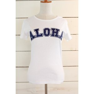 "alohahiyori オリジナルTシャツ(レディース) ""ALOHA COLLEGE"" white/ホワイト|alohahiyori"