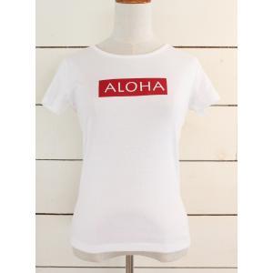 alohahiyori オリジナルTシャツ(レディース)ALOHA MARK white/ホワイト|alohahiyori