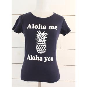 alohahiyori オリジナルTシャツ(レディース)Alohame Alohayou pineapple Navy/ネイビー|alohahiyori