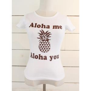 alohahiyori オリジナルTシャツ(レディース)Alohame Alohayou pineapple white/ホワイト|alohahiyori