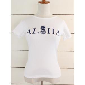 "alohahiyori オリジナルTシャツ(レディース) ""ALOHA"" pineapple white /ホワイト|alohahiyori"