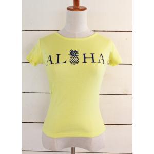 alohahiyori オリジナルTシャツ(レディース)ALOHA pineapple yeloow/イエロー|alohahiyori