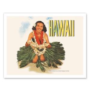 ハワイ ジークレー アート Hawaiian Girl with Flower Leis Matson Lines alohahiyori