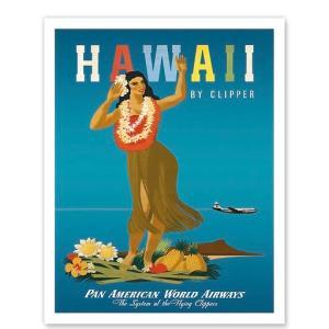ハワイ ジークレー アート Hawaii By Clipper Pan American Airways Hula Girl alohahiyori