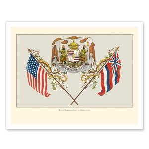 ハワイ ジークレー アート Royal Hawaiian Coat of Arms Hawaii State Motto 1902 alohahiyori