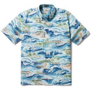アロハシャツ 半袖 レインスプーナー SURFIN' 808 サーフィン ESTATE BLUE エステートブルー alohahiyori