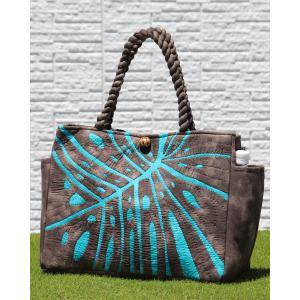 ハワイアンキルト レッスンバッグ Hawaiian Quilt Lesson Bag モンステラ ブラウンxマリンブルー 送料無料|alohahiyori