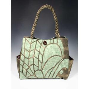 ハワイアンキルト スタンダードバッグ Hawaiian Quilt Standard Bag ティキ ブラウンxモスグリーン 送料無料|alohahiyori