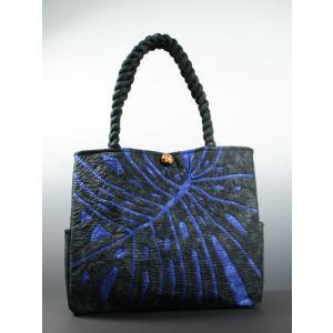 ハワイアンキルト スタンダードバッグ Hawaiian Quilt Standard Bag モンステラ ダークブルーxブラック 送料無料|alohahiyori