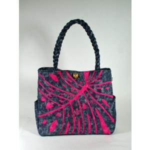 ハワイアンキルト スタンダードバッグ Hawaiian Quilt Standard Bag モンステラ ピンクxアスファルト 送料無料|alohahiyori