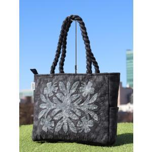 ハワイアンキルト スタンダードミニ バッグ Hawaiian Quilt Standard Mini Bag ハイビスカス ブラックxダークグレイ 送料無料|alohahiyori