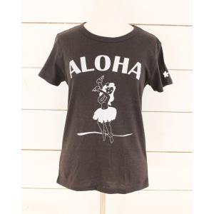 HULA GIRL ALOHA フラガール アロハ Tee クロ Black|alohahiyori