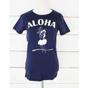 "alohahiyori オリジナルTシャツ(レディース) ""Aloha Hula Girl"" Navy/ネイビー|alohahiyori"