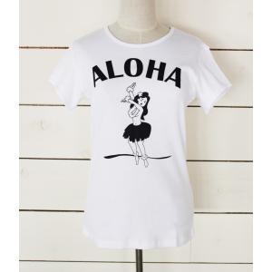 "alohahiyori オリジナルTシャツ(レディース) ""Aloha Hula Girl"" White/ホワイト|alohahiyori"