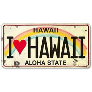 ハワイ ナンバープレート ライセンスプレート ハワイアン 雑貨 壁掛け I LOVE HAWAII アイラブハワイ|alohahiyori