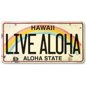 ハワイ ナンバープレート ライセンスプレート ハワイアン 雑貨 壁掛け LIVE ALOHA リブアロハ|alohahiyori