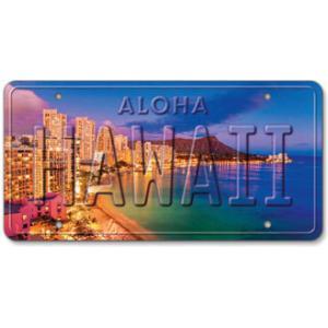 ハワイ ナンバープレート ライセンスプレート ハワイアン 雑貨 壁掛け HAWAII WAIKIKI ハワイ ワイキキ|alohahiyori