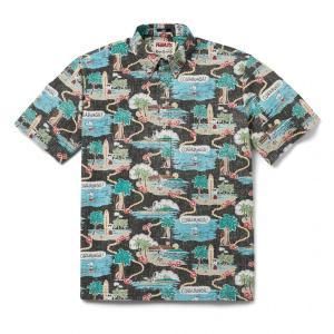 プルオーバー アロハシャツ 半袖 レインスプーナー Surfin Snoopy サーフィン スヌーピー BLACK ブラック alohahiyori