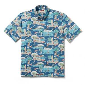 プルオーバー アロハシャツ 半袖 レインスプーナー Surfin Snoopy サーフィン スヌーピー BLUE ブルー alohahiyori