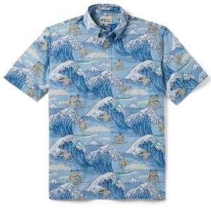 アロハシャツ 半袖 レインスプーナー Surfin SUMO サーフィン 相撲 DUSK BLUE ブルー alohahiyori
