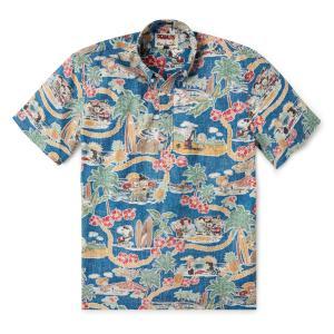 プルオーバー アロハシャツ 半袖 レインスプーナー PEANUTS IN HAWAII ピーナッツインハワイ DARK BLUE ダークブルー alohahiyori