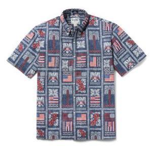 アロハシャツ 半袖 レインスプーナー SUMMER COMMEMORATIVE 2021 独立記念日 DRESS BLUE ドレスブルー alohahiyori