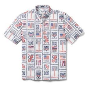 アロハシャツ 半袖 レインスプーナー SUMMER COMMEMORATIVE 2021 独立記念日 WHITE ホワイト alohahiyori