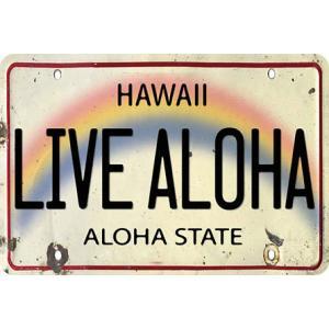 ハワイ ポストカード ビンテージカード Live Aloha License Plate alohahiyori