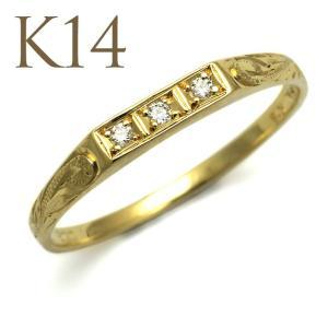 ハワイアンジュエリー リング 3ダイヤモンド スクロール ゴールドリング K14またはK18 14金18金 ari1147|alohamana