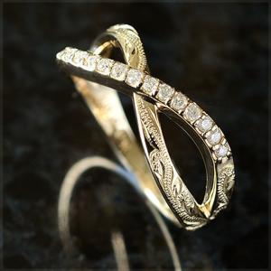 ハワイアンジュエリー リング指輪 (K18 18金)ゴールド ラインストーンダイヤモンド インフィニティリング ari1175 クリスマス プレゼント|alohamana