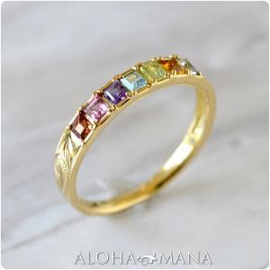 リング ハワイアンジュエリー アミュレット カラーストーン スクロール ゴールドリング K18 ゴールド 18金 イエロー ari1349/新作|alohamana