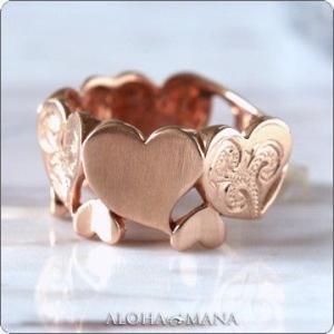 ハワイアンジュエリー リング指輪 レディース K10 10金 ピンクゴールド・ハートカットアウト ピンキーリング arig7012 クリスマス プレゼント|alohamana