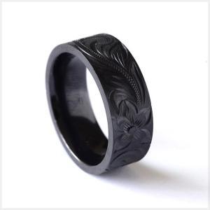 ハワイアンジュエリー リング 指輪 メンズ ブラックチタン シングルトーン 手彫り プルメリア リング bri1312/新作|alohamana